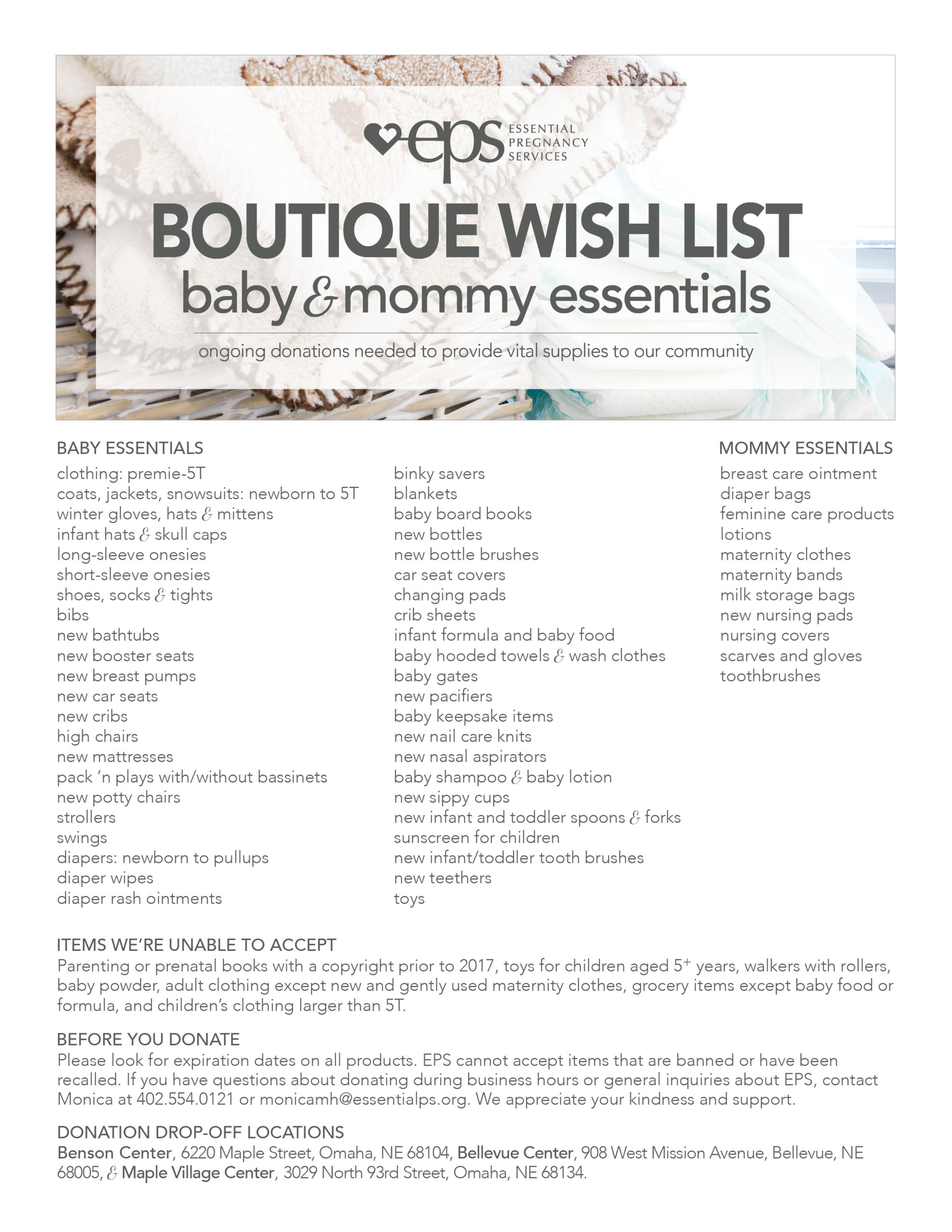 Boutique Ongoing Wish List 2019